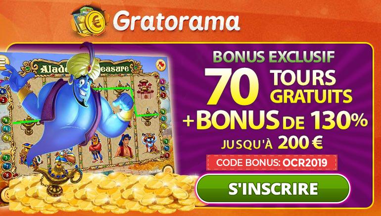 Le Bonus Exclusif de Gratorama de 130% jusqu'à €200 + 70 Spins Gratuits
