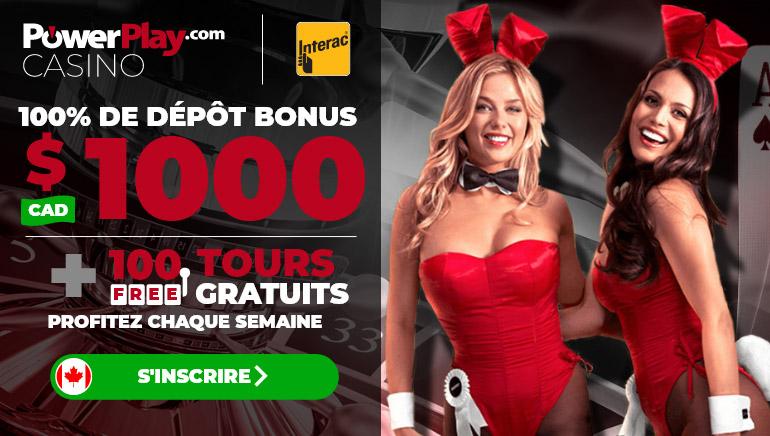 PowerPlay Casino offre aux nouveaux joueurs d'obtenir un bonus de bienvenue de 1000 $C