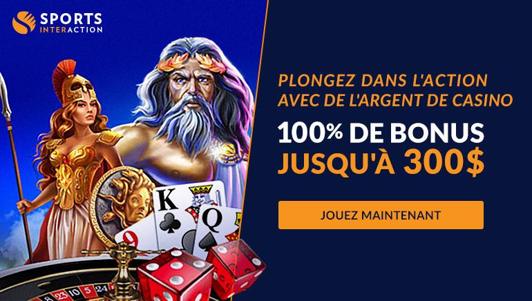 SportsInteraction Casino Offre aux Joueurs un Bonus de 100% jusqu'à $300